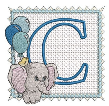 Ellie Font Applique - C - Embroidery Design