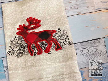 """Woodland Reindeer Applique - Fits a 5x7"""", 6x10"""" & 8x12"""" Hoop - Embroidery Designs"""