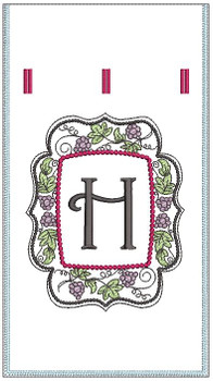 "Wine Bottle Sack - H - Fits in a 6 x 11"" Hoop - Instant Downloadable Machine Embroidery"