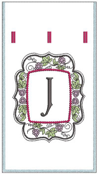 "Wine Bottle Sack - J - Fits in a 6 x 11"" Hoop - Instant Downloadable Machine Embroidery"