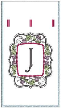 Wine Bottle Sack - J - Embroidery Designs