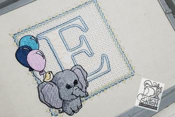 Ellie Font Applique - E - Embroidery Design