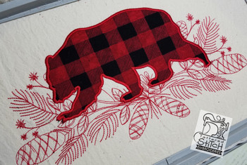 """Woodland Bear Applique - Fits a 5x7"""" 6x10"""" & 8x12"""" Hoop - Embroidery Designs"""
