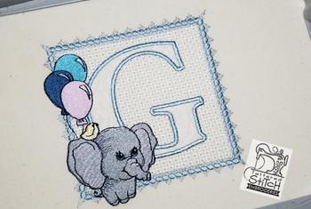 Ellie Font Applique - G - Embroidery Design