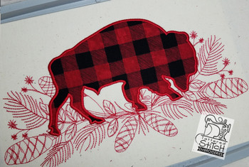 """Woodland Bison Applique - Fits a 5x7, 6x10, and 8x12"""" Hoop - Embroidery Designs"""
