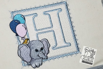 Ellie Font Applique - H - Embroidery Design