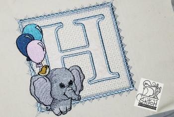 Ellie Font Applique - H - Embroidery Design