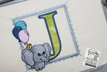 Ellie Font Applique - J - Embroidery Design