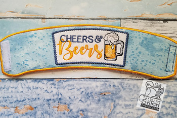 """Beers & Cheers Beverage Cozie - Fits a 6 by 12"""" Hoop - Instant Downloadable Machine Embroidery"""