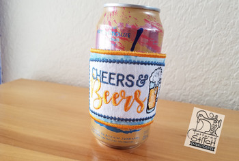 "Beers & Cheers Beverage Cozie - Fits a 6 by 12"" Hoop - Instant Downloadable Machine Embroidery"