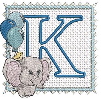 Ellie Font Applique - K - Embroidery Design