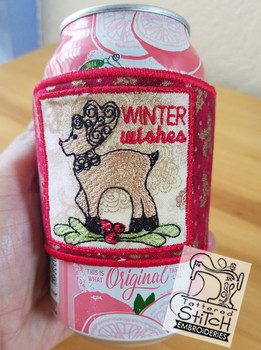"""Winter Wishes Beverage Cozie - Fits a 6 by 12"""" Hoop - Instant Downloadable Machine Embroidery"""