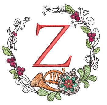 French Horn Wreath Z Font - Embroidery Designs