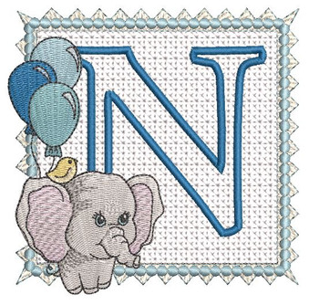 Ellie Font Applique - N - Embroidery Design