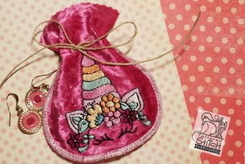 """Unicorn Jewelry Pouch fits a 5x7"""" Hoop - Instant Downloadable Machine Embroidery"""