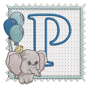 Ellie Font Applique - P - Embroidery Design