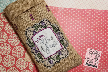 """Happy New Year Wine Bottle Bag - Fits in a 6 x 11"""" Hoop - Instant Downloadable Machine Embroidery"""