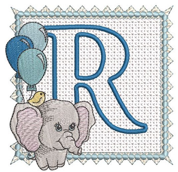 Ellie Font Applique - R - Embroidery Design