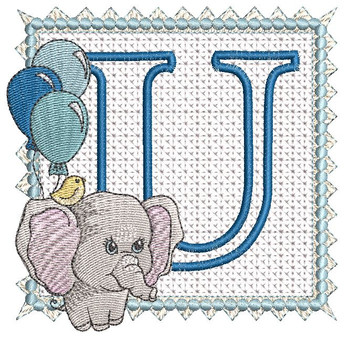 Ellie Font Applique - U - Embroidery Design