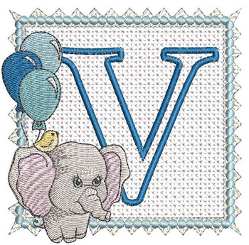 Ellie Font Applique - V - Embroidery Design