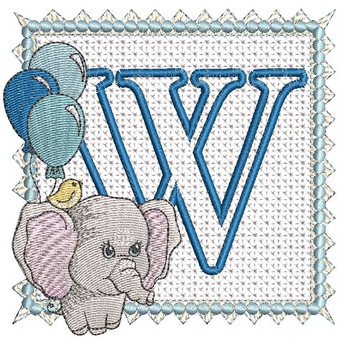 Ellie Font Applique - W - Embroidery Design