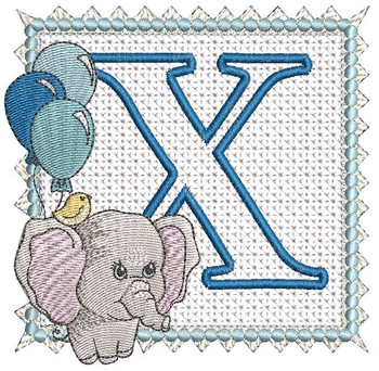 Ellie Font Applique - X - Embroidery Design