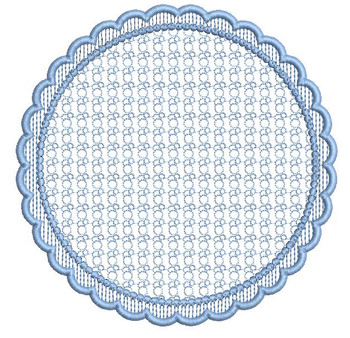"Motif Knockdown Scalloped Circle Frame Fits 4x4, 5x7, 6x11 and 8x8"" Hoop - Instant Downloadable Machine Embroidery"