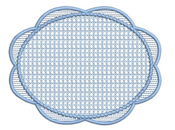 "Motif Knockdown Scalloped Oval Frame Fits 4x4, 5x7, 6x11 and 8x8"" Hoop - Instant Downloadable Machine Embroidery"