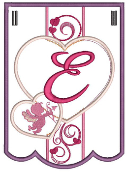 Valentine Bunting ABCs - E - Embroidery Designs