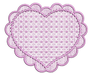 "Motif Knockdown Scalloped Heart Frame Fits 4x4, 5x7, 7x11 and 8x8"" Hoop - Instant Downloadable Machine Embroidery"