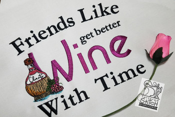 "Friends Like Wine Fits a 7 by 12"" Hoop - Instant Downloadable Machine Embroidery"