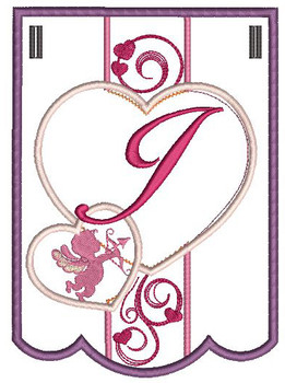 Valentine Bunting Bundle ABCs - J - Embroidery Designs