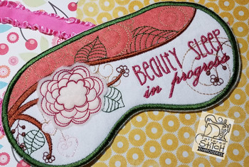 """Beauty Sleep Mask - Fits a 5 by 7"""" Hoop - Instant Downloadable Machine Embroidery"""