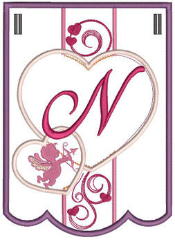 Valentine Bunting ABCs - N - Embroidery Designs
