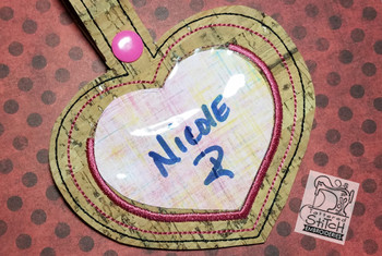 "Heart Luggage Tag- Fits a 5 by 7"" Hoop - Instant Downloadable Machine Embroidery"