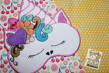 "Unicorn Sleep Mask - Fits a 8x8"" Hoop - Instant Downloadable Machine Embroidery"