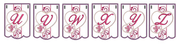 """Valentine Bunting - Bundle- Letters - U-Z - Fits a 5 by 7"""" Hoop - Instant Downloadable Machine Embroidery"""