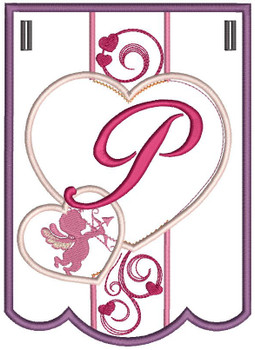 Valentine Bunting ABCs - P - Embroidery Designs