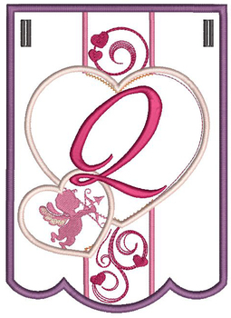 Valentine Bunting ABCs - Q - Embroidery Designs