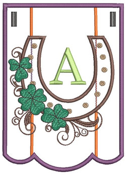 """Shamrock Charm Bunting - Bundle- Letter - A - Fits a 5 by 7"""" Hoop - Instant Downloadable Machine Embroidery"""