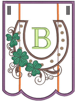 """Shamrock Charm Bunting - Bundle- Letter - B - Fits a 5 by 7"""" Hoop - Instant Downloadable Machine Embroidery"""