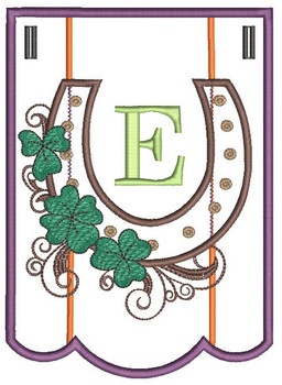 """Shamrock Charm Bunting - Bundle- Letter - E - Fits a 5 by 7"""" Hoop - Instant Downloadable Machine Embroidery"""