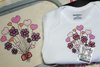 """Heart Bouquet - Fits a 4x4 and 5x7"""" Hoop - Instant Downloadable Machine Embroidery"""