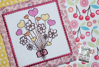 "Heart Bouquet Coaster - Fits a 5x7"" Hoop - Instant Downloadable Machine Embroidery"