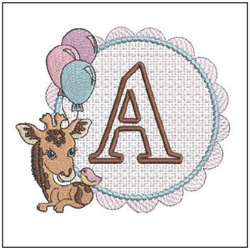 Baby Giraffe Font Applique - A - Embroidery Designs
