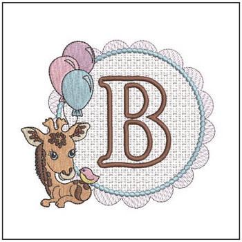 Baby Giraffe Font Applique - B - Embroidery Designs