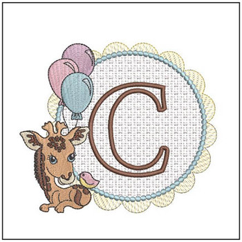 Baby Giraffe Font Applique - C - Embroidery Designs