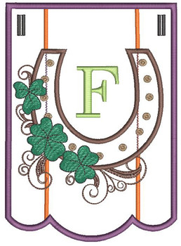 """Shamrock Charm Bunting -  Letter - F - Fits a 5 by 7"""" Hoop - Instant Downloadable Machine Embroidery"""