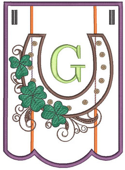 """Shamrock Charm Bunting - Letter - G - Fits a 5 by 7"""" Hoop - Instant Downloadable Machine Embroidery"""