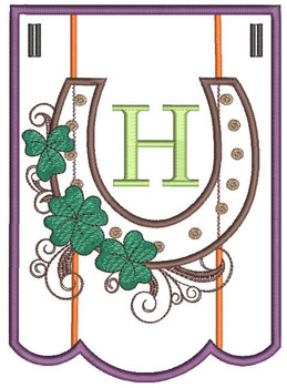"""Shamrock Charm Bunting - Letter - H - Fits a 5 by 7"""" Hoop - Instant Downloadable Machine Embroidery"""